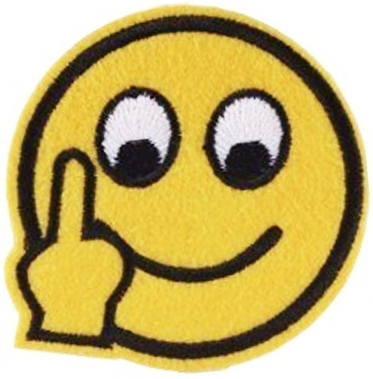 SMILEY MIDDLE FINGER PATCH