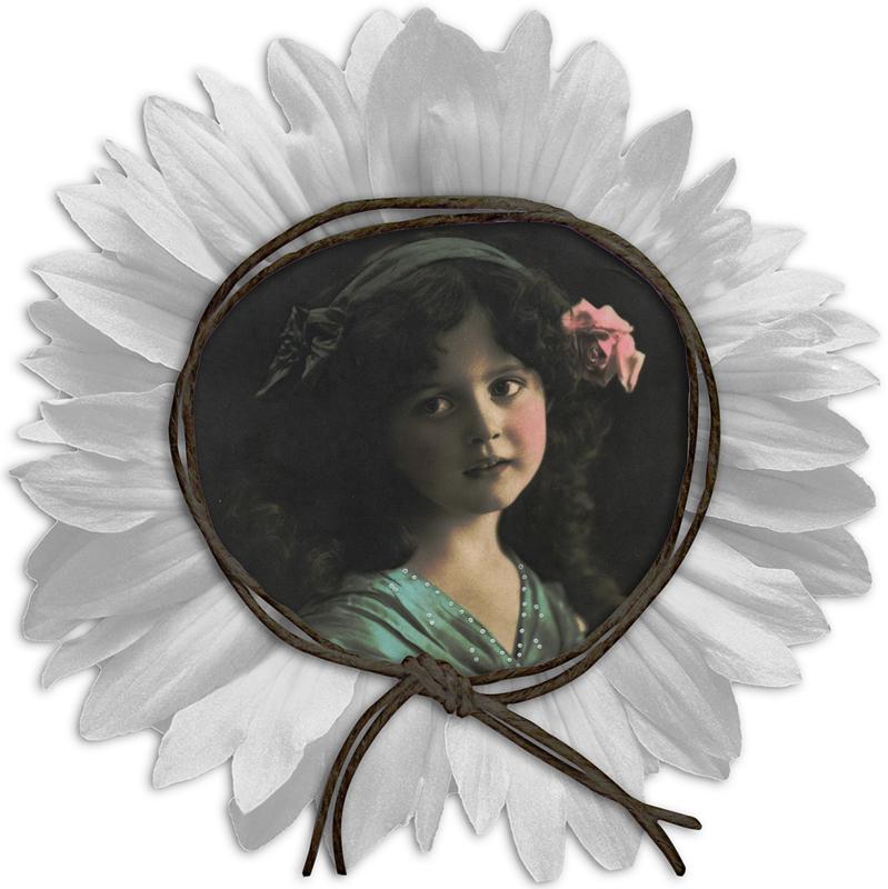 GIRL FRAMED BY FLOWER IRON ON TRANSFER