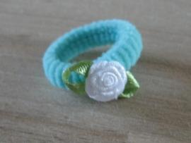 Elastiek Aquablauw, Wit roosje