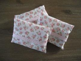Zakdoekhoesjes Roze Bloemen met roze stippen band