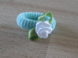 Elastiek Lichtblauw, Wit roosje