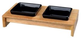 Voer/Waterbak-Set, keramiek/hout