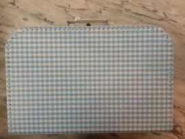 koffer blauw/wit ruitje