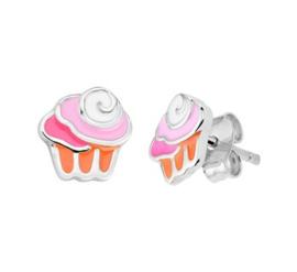 Zilveren oorstekers cupcakes