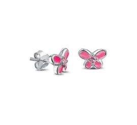Zilveren oorstekers roze vlinder zirkonia
