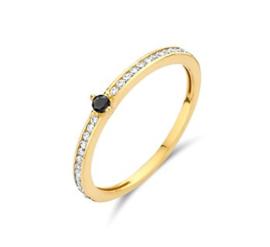Gouden ring zwart/witte zirkonia