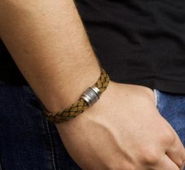 Armband lichtbruin leer 12 mm 21 cm