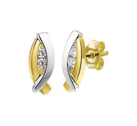 Gouden bicolor oorstekers ovaal met steentjes
