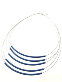 Handgemaakt collier 5 strengen blauw