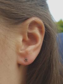 Zilveren oorstekers open ster klein