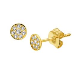 Gouden ronde oorknopjes met zirkonia