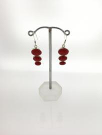 Zilveren oorhangers driedelige rode jaspis