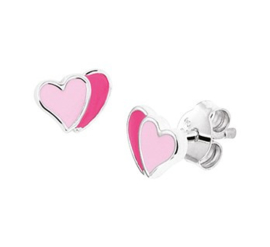 Zilveren oorstekers dubbel hartje