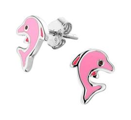 Zilveren oorstekers roze dolfijn