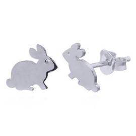 zilveren oorknopjes:konijn