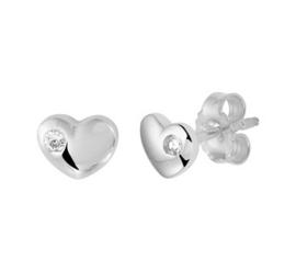 Zilveren oorstekers hart zirkonia