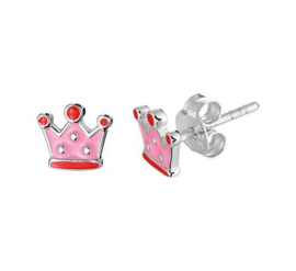 Zilveren oorstekers kroon roze/rood