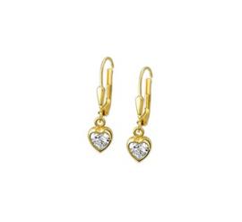 Gouden oorhangers zirkonia-hartje