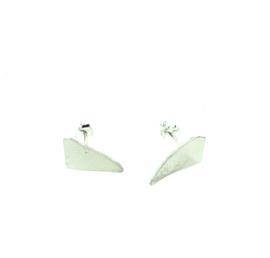 Zilveren oorstekers driehoek plat