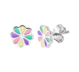 Zilveren oorstekers bloem pastel