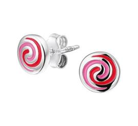 Zilveren oorstekers rond spiraal roze/rood