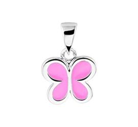 Zilveren kinder kettinghanger roze vlinder