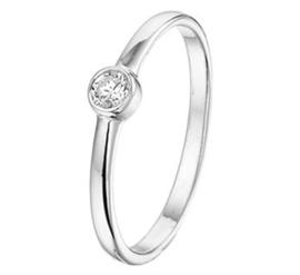 Zilveren ring zirkonia rond
