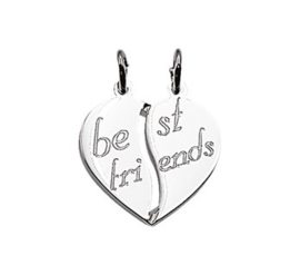 Zilveren kettinghanger breekhart best friends
