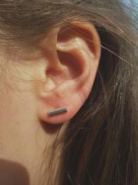 Zilveren oorstekers dikke streep