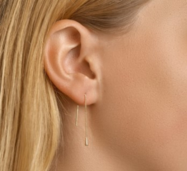 Gouden doortrek-oorbellen druppel