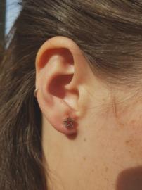 Zilveren oorstekers open ster groot