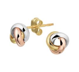 Gouden tricolor oorstekers drie cirkels