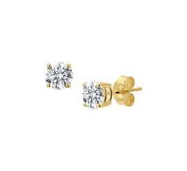 Gouden oorknopjes diamant