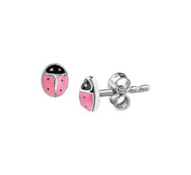 Zilveren oorstekers lieveheersbeestje roze