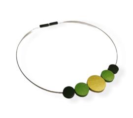 Tjongejonge collier cirkels groen