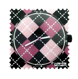 STAMPS-horloge roze ruit