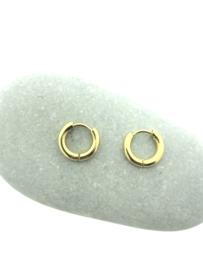 Edelstalen klapcreolen goud 13 mm