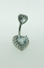 Navelpiercing dubbel hart