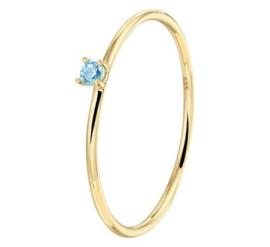 Gouden aanschuifring blauwe zirkonia