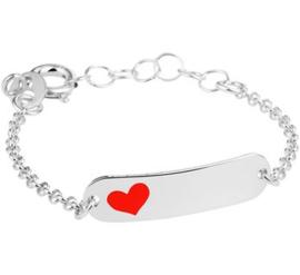 Zilveren kinderarmbandje plaat ovaal hart