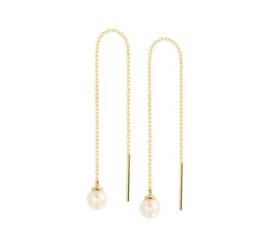 Gouden doortrek-oorbellen parel