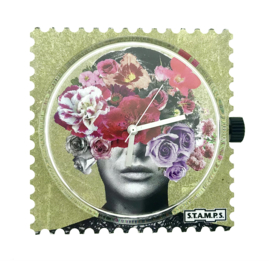STAMPS-klokje head full of flowers