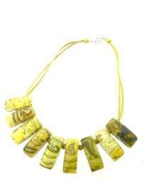 Zsiska collier rechthoeken geel
