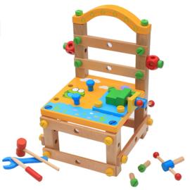 Houten ontdek-stoel geel