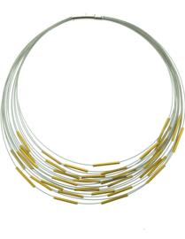 Handgemaakte collier staafjes goudkleur