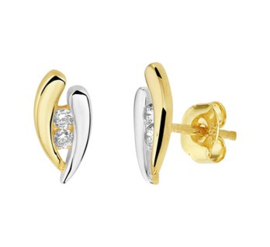 Gouden bicolor oorstekers steentjesrij