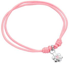 Gevlochten roze armband met zilveren bloemetjes bedel