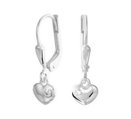 Zilveren oorhangers hart zirkonia