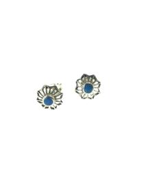 Zilveren oorstekers turkoois bloem
