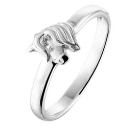 Zilveren kinderring paardenhoofd